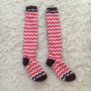 J. Crew Red & Pink Striped Socks